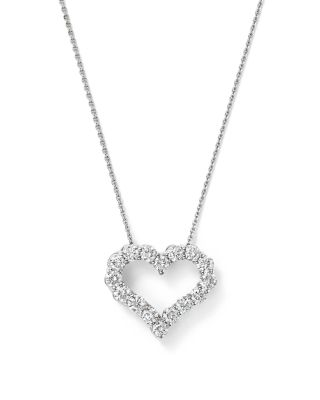 Diamond Heart Pendant Necklace in 14K White Gold, 1.0 ct. t.w. - 100% Exclusive