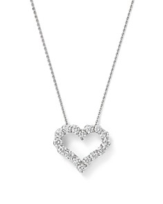 Bloomingdale's - Diamond Heart Pendant Necklace in 14K White Gold, 0.25-1.0 ct. t.w. - 100% Exclusive