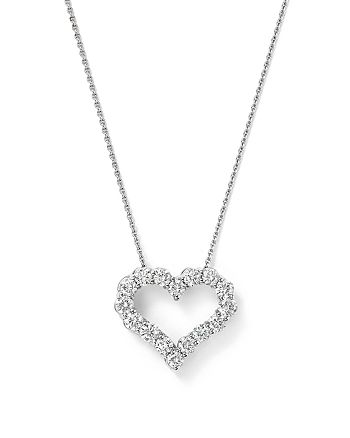 Bloomingdale's - Diamond Heart Necklace in 14K White Gold, .50 ct. t.w. - 100% Exclusive