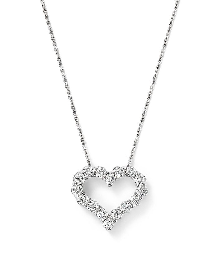 Bloomingdale's - Diamond Heart Pendant Necklace in 14K White Gold, .25-1.0 ct. t.w. - 100% Exclusive