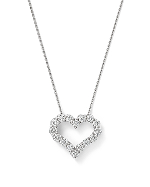 Diamond Heart Pendant Necklace in 14K White Gold, 0.50 ct. t.w. - 100% Exclusive
