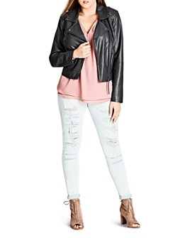 City Chic Plus - Whipstich Faux-Leather Biker Jacket