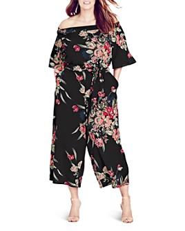 City Chic Plus - Misty Floral Print Jumpsuit