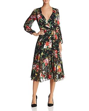 Alice + Olivia Abney Floral Burnout Wrap Dress