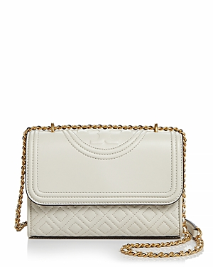 Tory Burch Fleming Convertible Small Leather Shoulder Bag In Birch Ivory/gold