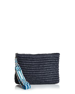 FALLON & ROYCE DYLAN NAVY STRAW CLUTCH