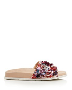 Kenneth Cole - Women's Xenia Sequin-Embellished Pool Slide Sandals