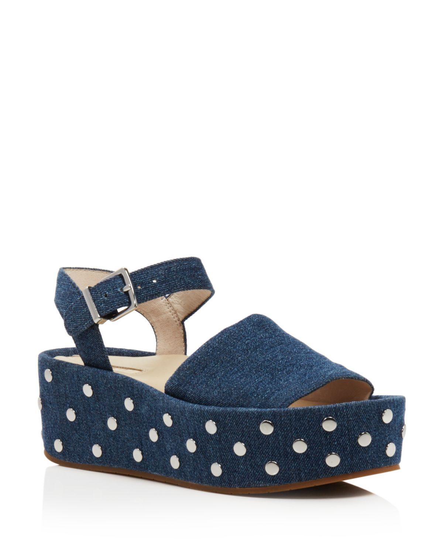 Kenneth Cole Women's Danton Studded Denim Platform Wedge Sandals