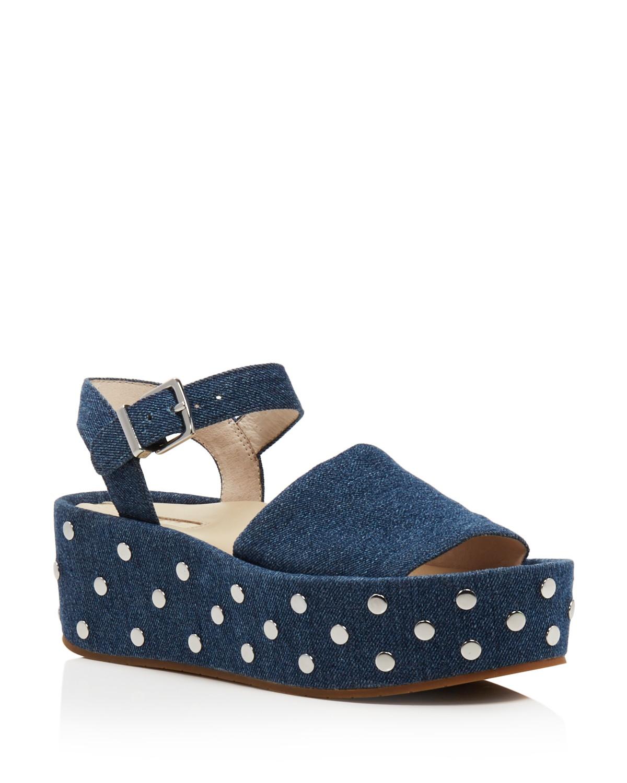 Kenneth Cole Women's Danton Studded Denim Platform Wedge Sandals Cheap Price Low Shipping Fee LgPhu