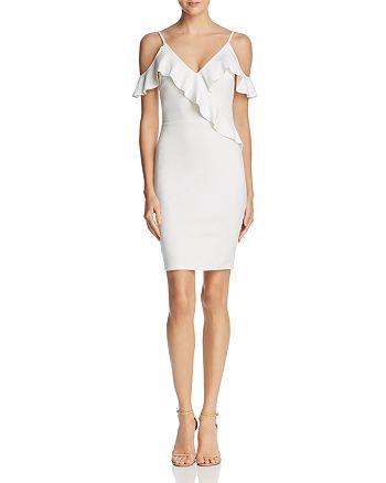 AQUA - Ruffled Cold-Shoulder Body-Con Dress - 100% Exclusive