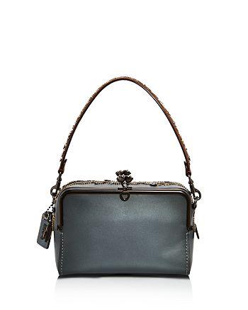 Coach Crystal Embellishment Mailbox Leather Shoulder Bag