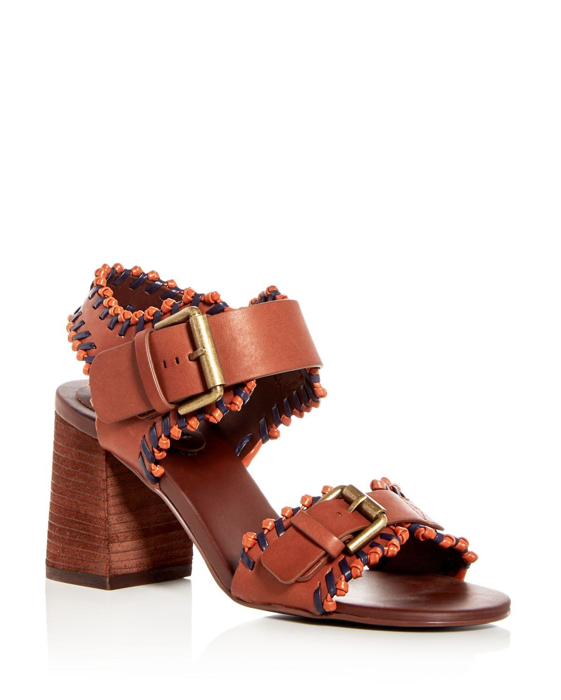 Chloé Women's Leather Whipstitch High Block Heel Sandals