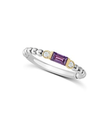 LAGOS - 18K Gold & Sterling Silver Amethyst & Diamond Stacking Ring