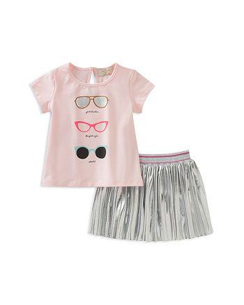 kate spade new york - Girls' Sunglasses Tee & Pleated Metallic Skirt Set - Baby