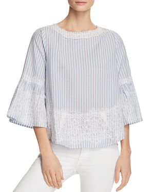 ALISON ANDREWS BELL SLEEVE LACE OVERLAY STRIPE TOP