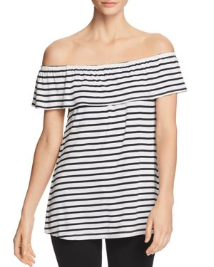 ALISON ANDREWS Marilyn Off-The-Shoulder Stripe Top in White/Navy
