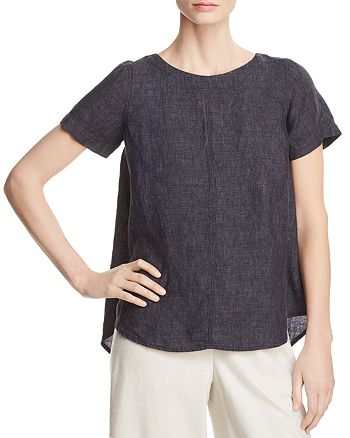 Eileen Fisher Petites - Short Sleeve Linen Top