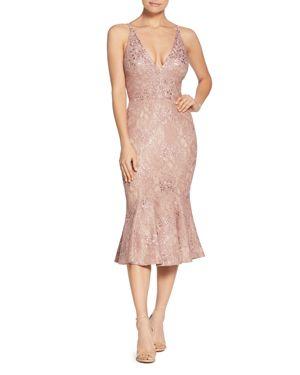 DRESS THE POPULATION Isabelle Plunge Neck Lace Trumpet Dress in Mauve/ Nude