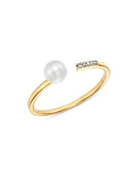 MATEO - 14K Yellow Gold Cultured Freshwater Pearl & Diamond Open Ring