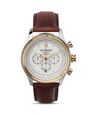 JACK MASON Nautical Chronograph Leather Strap Watch, 42Mm in White/ Brown