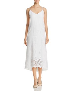 DOMINIQUE LINEN EYELET MIDI DRESS