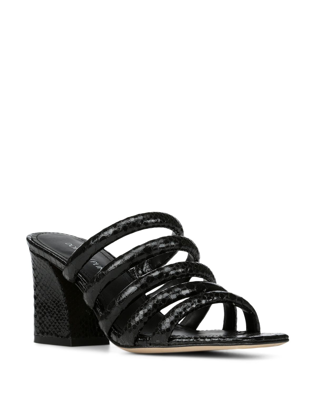 Donald Pliner Women's Wes Snake Embossed Leather Block Heel Slide Sandals