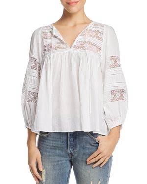 Velvet By Graham Spencer Cotton Lace Peasant Blouse In White