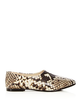 Freda Salvador - Women's Babouche Snake Embossed Leather Flats