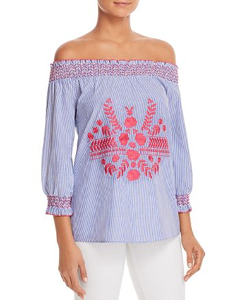 Design History - Embroidered Pinstripe Off-The-Shoulder Top