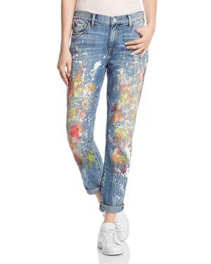 Cameron Slim Boyfriend Paint-Splatter Jeans, Pop Art Paint