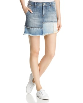 True Religion - Layered Denim Mini Skirt in Triple Salute