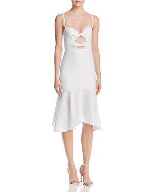 KARINA GRIMALDI Nelia Bow-Detail Cutout Midi Dress in White