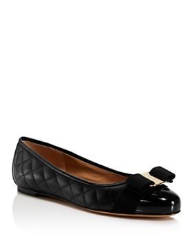 Salvatore Ferragamo - Women's Varina Quilted Leather Cap Toe Ballet Flats
