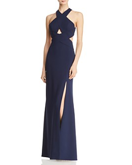 BCBGMAXAZRIA - Crossover Cutout Gown - 100% Exclusive