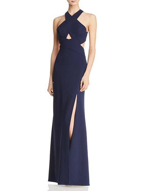 BCBGMAXAZRIA Crossover Cutout Gown - 100% Exclusive   Bloomingdale\'s