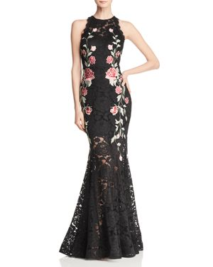AVERY G EMBROIDERED LACE GOWN