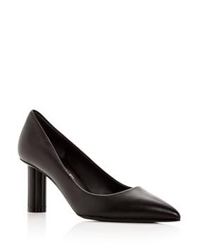 Salvatore Ferragamo - Women's Badia 70 Leather Flower Heel Pointed Toe Pumps