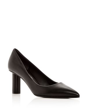 Salvatore Ferragamo Women's Badia 70 Leather Flower Heel Pointed Toe Pumps