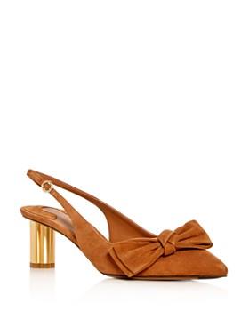Salvatore Ferragamo - Women's Aulla Suede Slingback Floral Heel Pumps