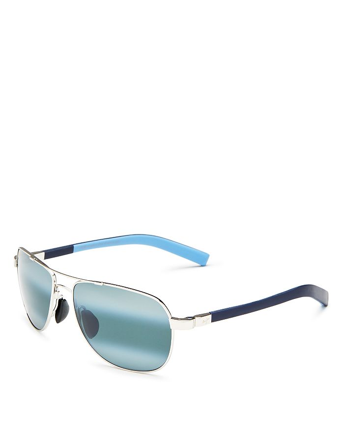 cca71e54337 Maui Jim Men s Guardrails Polarized Brow Bar Aviator Sunglasses ...