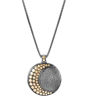 John Hardy Blackened Sterling Silver & 18K Bonded Gold Dot Hammered Moon Pendant Necklace, 36