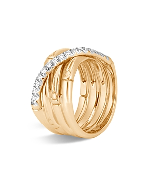 John Hardy 18K Yellow Gold Bamboo Pave Diamond Band Ring