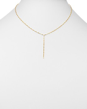"Moon & Meadow - Flat Link Chain Y Drop Necklace in 14K Yellow Gold, 17"" - 100% Exclusive"