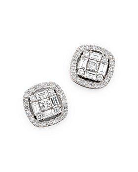 Bloomingdale's - Diamond Baguette Halo Stud Earrings in 14K White Gold, 0.75 ct. t.w.- 100% Exclusive