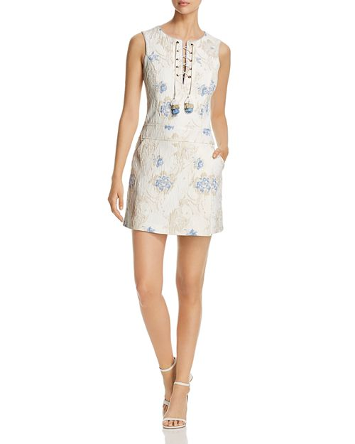 Badgley Mischka - Floral Jacquard Lace-Up Shift Dress