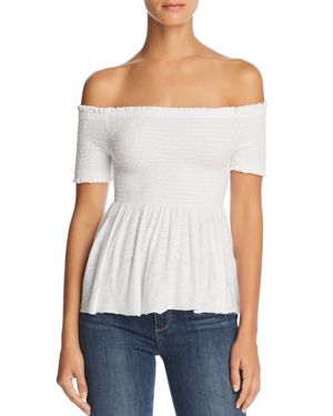 MICHELLE BY COMUNE OFF-THE-SHOULDER SMOCKED TOP