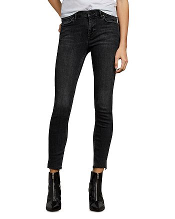 ALLSAINTS - Grace Raw-Edge Ankle Skinny Jeans in Washed Black