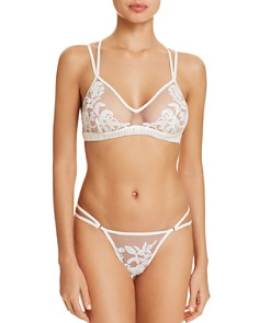 Thistle & Spire - Cornelia Embroidered Strappy Bralette & Mesh Thong