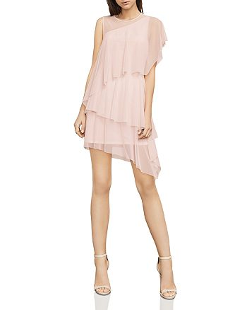 BCBGMAXAZRIA - Madison Tiered Asymmetric Mesh Dress