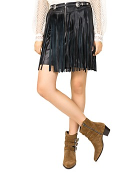 The Kooples - Fringed Leather Skirt
